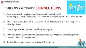PowerPoint slide describing icebreaker activity instructions